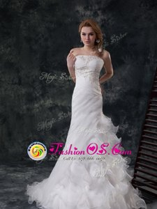 White Wedding Dress Organza Brush Train Sleeveless Beading and Appliques and Ruching