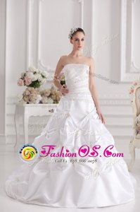 Cheap Sleeveless Taffeta Brush Train Zipper Bridal Gown in White for with Beading and Ruching and Pick Ups