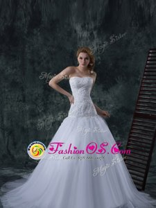 White Column/Sheath Strapless Sleeveless Tulle With Train Court Train Lace Up Beading and Appliques Wedding Dresses