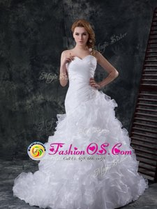 Best Mermaid One Shoulder Ruffled White Sleeveless Organza Brush Train Zipper Wedding Gowns for Wedding Party