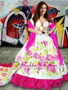 Sleeveless Brush Train Embroidery Lace Up Quinceanera Dress