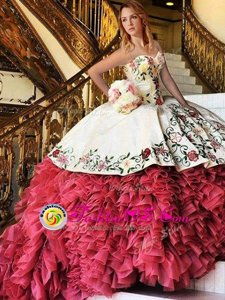 Popular White and Red Ball Gowns Embroidery and Ruffles Ball Gown Prom Dress Lace Up Organza and Taffeta Sleeveless With Train
