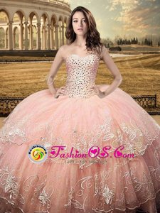 Luxurious Sleeveless Tulle Floor Length Lace Up Quince Ball Gowns in White for with Beading