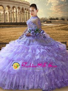 Beautiful Ruffled Floor Length Lavender 15th Birthday Dress High-neck Long Sleeves Lace Up
