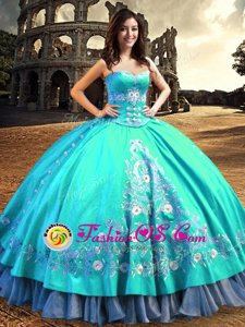 Cute Sleeveless Taffeta Floor Length Lace Up Quinceanera Dress in Aqua Blue for with Embroidery