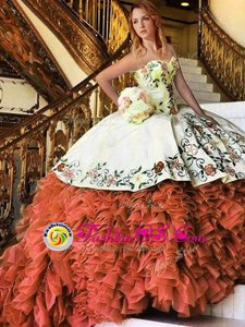 Customized Organza Sweetheart Sleeveless Lace Up Appliques and Embroidery and Ruffles 15 Quinceanera Dress in Rust Red