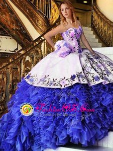 Dynamic Blue And White Ball Gowns Appliques and Embroidery Quinceanera Dresses Lace Up Organza Sleeveless Floor Length