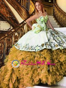 Elegant Yellow And White Organza Lace Up Sweet 16 Quinceanera Dress Sleeveless Floor Length Appliques and Embroidery