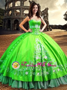 Hot Selling Off the Shoulder Satin Sleeveless Floor Length Ball Gown Prom Dress and Lace and Embroidery