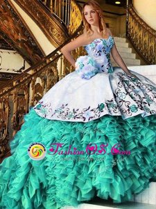 Hot Sale Multi-color Organza Lace Up Quinceanera Dress Sleeveless Floor Length Appliques and Embroidery