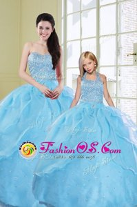 Stylish Beading and Sequins 15 Quinceanera Dress Baby Blue Lace Up Sleeveless Floor Length