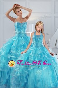 Floor Length Aqua Blue Quinceanera Dresses Organza Sleeveless Beading and Ruffled Layers