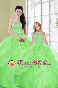 Green Sweetheart Lace Up Beading and Sequins Sweet 16 Dress Sleeveless