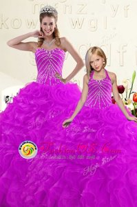 Dynamic Tulle Sleeveless Floor Length 15th Birthday Dress and Beading