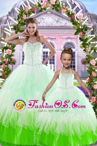 Beauteous Sleeveless Tulle Floor Length Lace Up 15th Birthday Dress in Multi-color for with Beading
