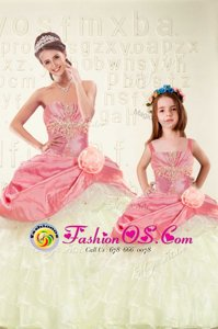 Pink Sweetheart Lace Up Beading and Ruffled Layers and Hand Made Flower Ball Gown Prom Dress Sleeveless