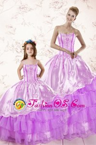 Fitting Sleeveless Lace Up Floor Length Beading and Ruffled Layers and Ruching 15 Quinceanera Dress