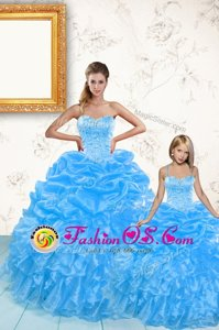 Baby Blue Sweetheart Lace Up Beading and Ruffles and Pick Ups Sweet 16 Dresses Sleeveless