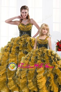 High End Gold Quinceanera Dresses Military Ball and Sweet 16 and Quinceanera and For with Beading and Appliques and Ruffles Sweetheart Sleeveless Lace Up