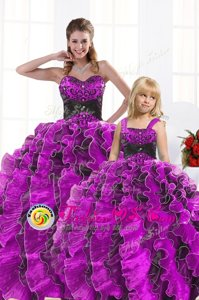 Custom Designed Fuchsia Sleeveless Beading and Appliques and Ruffles Floor Length Sweet 16 Dress