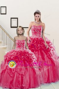 Custom Fit Organza Sleeveless Floor Length 15 Quinceanera Dress and Beading and Pick Ups