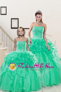 Turquoise Ball Gowns Organza Sweetheart Sleeveless Beading and Pick Ups Floor Length Lace Up Sweet 16 Dresses