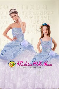 Stunning Light Blue Quince Ball Gowns Military Ball and Sweet 16 and Quinceanera and For with Beading and Ruffled Layers and Hand Made Flower Sweetheart Sleeveless Lace Up