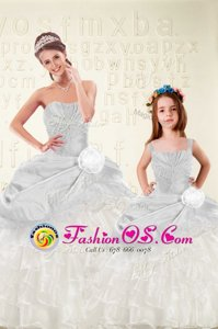 Organza and Taffeta Sleeveless Floor Length Sweet 16 Dress and Beading and Ruffled Layers and Hand Made Flower