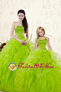 Custom Design Yellow Green Organza Lace Up 15th Birthday Dress Sleeveless Floor Length Beading and Ruffles