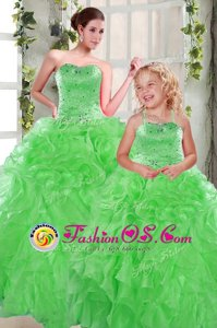 Fantastic Beading and Ruffles Quinceanera Gown Green Lace Up Sleeveless Floor Length