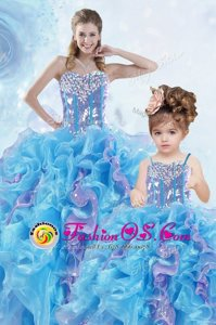 Beauteous Sleeveless Organza Floor Length Lace Up Sweet 16 Dress in Multi-color for with Beading and Ruffles and Sequins