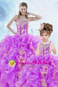 Beading and Ruffles and Sequins Quinceanera Dresses Multi-color Lace Up Sleeveless Floor Length
