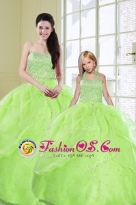 Latest Sequins Sleeveless Organza Lace Up Quinceanera Gowns for Military Ball and Sweet 16 and Quinceanera