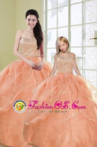 Exquisite Sweetheart Sleeveless Quinceanera Dresses Floor Length Beading and Sequins Turquoise Organza