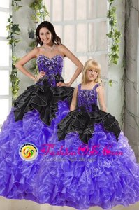 Cute Sweetheart Sleeveless Lace Up Sweet 16 Dresses Black And Purple Organza