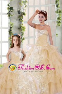 Sleeveless Beading and Ruffled Layers and Ruching Lace Up Sweet 16 Dresses