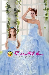 New Arrival Strapless Sleeveless Quinceanera Gowns Floor Length Embroidery and Ruffled Layers Blue Organza