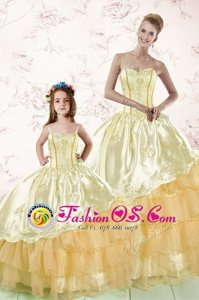 Gold Ball Gowns Embroidery and Ruffled Layers Sweet 16 Dress Lace Up Organza Sleeveless Floor Length