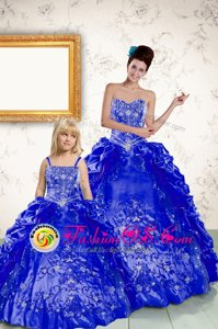 Pretty Royal Blue Taffeta Lace Up Vestidos de Quinceanera Sleeveless Floor Length Beading and Embroidery and Pick Ups