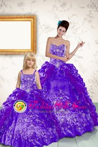 Shining Purple Sweet 16 Quinceanera Dress Military Ball and Sweet 16 and Quinceanera and For with Beading and Embroidery and Pick Ups Strapless Sleeveless Side Zipper