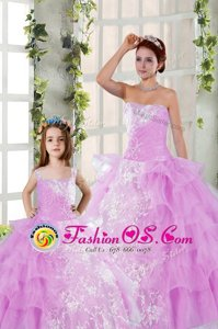 Exceptional Lilac Organza Lace Up Strapless Sleeveless Floor Length Quinceanera Gowns Beading and Ruching