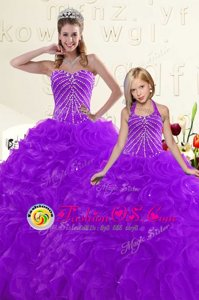 Delicate Fuchsia Lace Up Quinceanera Dress Beading and Ruffles Sleeveless Floor Length