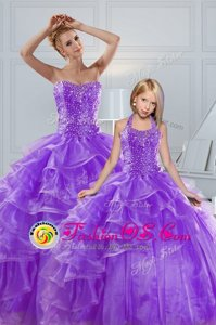 Affordable Beading and Ruffled Layers Vestidos de Quinceanera Lavender Lace Up Sleeveless Floor Length