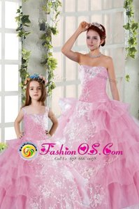 Captivating Ruffled Floor Length Rose Pink Sweet 16 Dress Strapless Sleeveless Lace Up