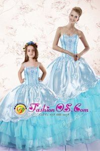 Cute Baby Blue Sleeveless Floor Length Embroidery and Ruffled Layers Zipper Quinceanera Dresses