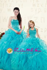Perfect Aqua Blue Sleeveless Beading and Ruffles Floor Length Sweet 16 Dresses