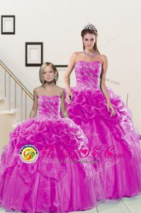 Pick Ups Sweetheart Sleeveless Lace Up 15 Quinceanera Dress Fuchsia Organza