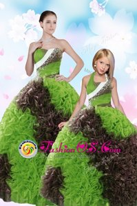Affordable Fabric With Rolling Flowers Sleeveless Floor Length Sweet 16 Dress and Beading and Sequins