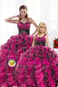 Hot Pink Ball Gowns Organza Sweetheart Sleeveless Beading and Appliques and Ruffles Floor Length Lace Up 15th Birthday Dress