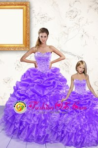 Floor Length Lace Up Vestidos de Quinceanera Royal Blue and In for Military Ball and Sweet 16 and Quinceanera with Beading and Ruffles and Pick Ups